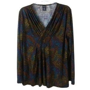 Multicolor Small Long Sleeve Top Blouse